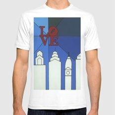 blue LOVE shine MEDIUM Mens Fitted Tee White