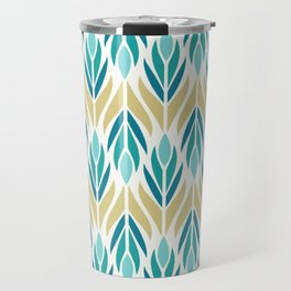 Mid Century Modern Abstract Floral Pattern in Turquoise Teal Aqua and Marigold Travel Mug