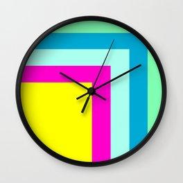 90's colour palette pattern design Wall Clock