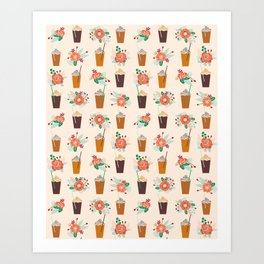 Coffee floral bouquet coffee lovers java bean cute pattern print for kitchen Art Print