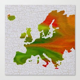 Colorful Art Europe Map Canvas Print