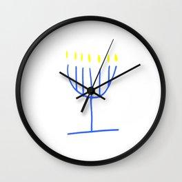 blue menorah,Hanukkah,jewish,jew,judaism,Festival ofLights,feast of Dedication,jerusalem,lampstand Wall Clock