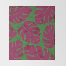 Monstera Leaf Print 4 Throw Blanket