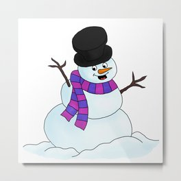 Happy Snowman Metal Print