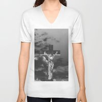 christ V-neck T-shirts featuring Jesus Christ by Kook Berry
