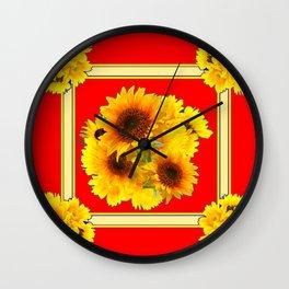 RED YELLOW SUNFLOWER BOUQUETS ART Wall Clock