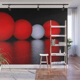spheres and reflections - red Wall Mural