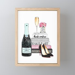 Champagne, pink ,Teal, books ,shoes, peonies ,Peony, Fashion illustration, Fashion ,Aman Framed Mini Art Print