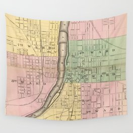 Vintage Map of Grand Rapids Michigan (1873) Wall Tapestry