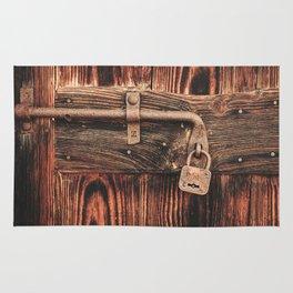 Rustic Old Wooden Door and Lock Rug