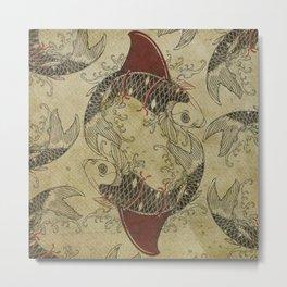 ying and yang shark fin goldfish Metal Print