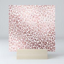 Leopard pattern, faux metallic rose gold Mini Art Print