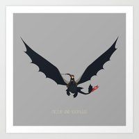 hiccup Art Prints featuring Hiccup & Toothless by carolam