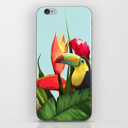 Toucan Tropical Banana Leaves Bouquet iPhone Skin