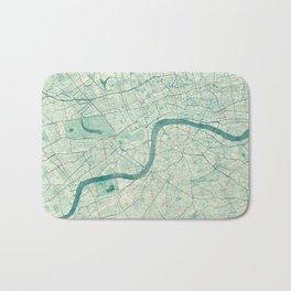 London Map Blue Vintage Bath Mat