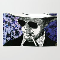 hunter s thompson Area & Throw Rugs featuring Hunter S. Thompson, Bat Country by Abominable Ink by Fazooli