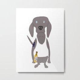 Weim USA Grey Ghost Weimaraner Dog Hand-painted Pet Drawing Metal Print