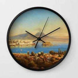 The Bay of Naples, Italy by Gustav Zick Wall Clock