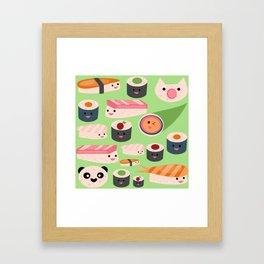 Kawaii sushi green Framed Art Print