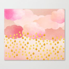 Rose gold rainshowers Canvas Print