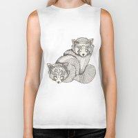 pandas Biker Tanks featuring red pandas by Polkip