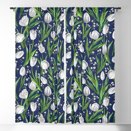 White Tulips + Baby's Breath — Navy Blackout Curtain