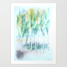 Kashgar Poplars Art Print