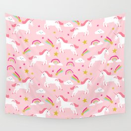 Unicorns happy clouds rainbows magical pony pattern pink pastels pattern Wall Tapestry