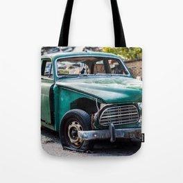 Smashed vintage car Tote Bag