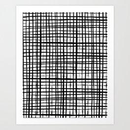 Essie - Grid, Black and White, BW, grid, square, paint, design, art Art Print