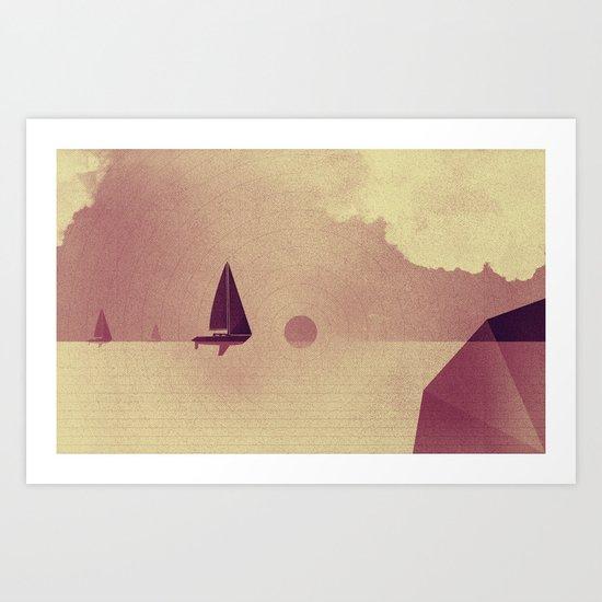 Sailing boats love ocean Art Print