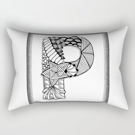 Zentangle P Monogram Alphabet Initials Rectangular Pillow