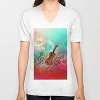 violin V-neck T-shirts featuring Violin with violin bow by nicky2342