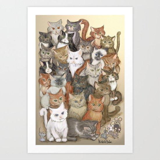 1000 cats Art Print