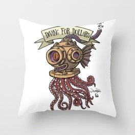 Octopus Diver Throw Pillow