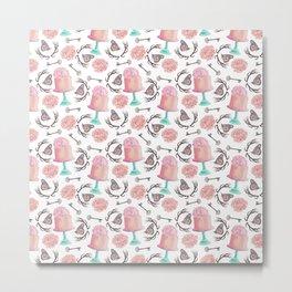 Rose pink coral flowers butterfly bohemian deer antlers Metal Print