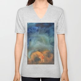 tie dye - the Earth: island formation Unisex V-Neck