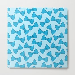 Bow Pattern - Cute Blue Metal Print