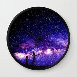 rick and morti nebula galaxy purple Wall Clock