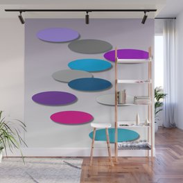 Cool Colors - Large Ovals - Digial Design - Pretty Colors Wall Mural