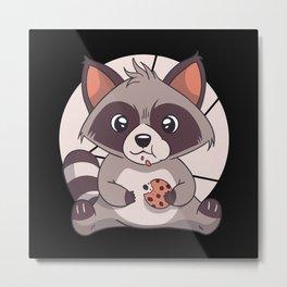 Cute Kawaii Raccoon eating Cookie (Gift) Metal Print