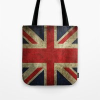 union jack Tote Bags featuring Union Jack by Bethan Eastwood