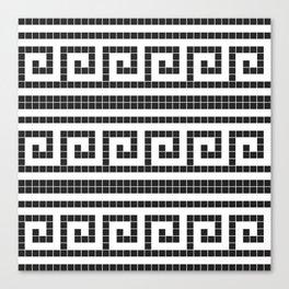 Black & white modern greek elements tiles pattern Canvas Print
