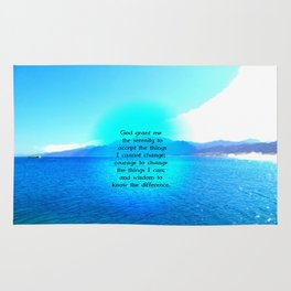 Serenity Prayer With Blue Ocean and Amazing Sky Rug