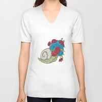 snail V-neck T-shirts featuring Snail by Guapo