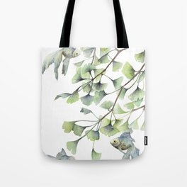 Mint Green Ginkgo Leaves and Green Goldfish Watercolor Design Tote Bag