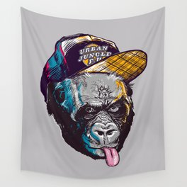 Gorillas Thinkers of the Urban Jungle Wall Tapestry