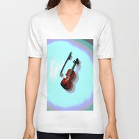 violin V-neck T-shirts featuring Violin by Vitta