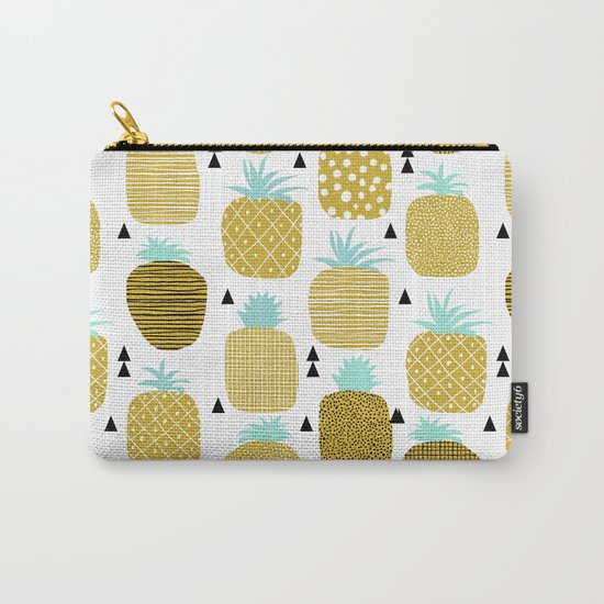 Pineapples triangles black and white minimal pattern tropical fruits print Carry-All Pouch