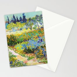 Vincent van Gogh - Garden At Arles, Flowering Garden With Path - Digital Remastered Edition Stationery Cards